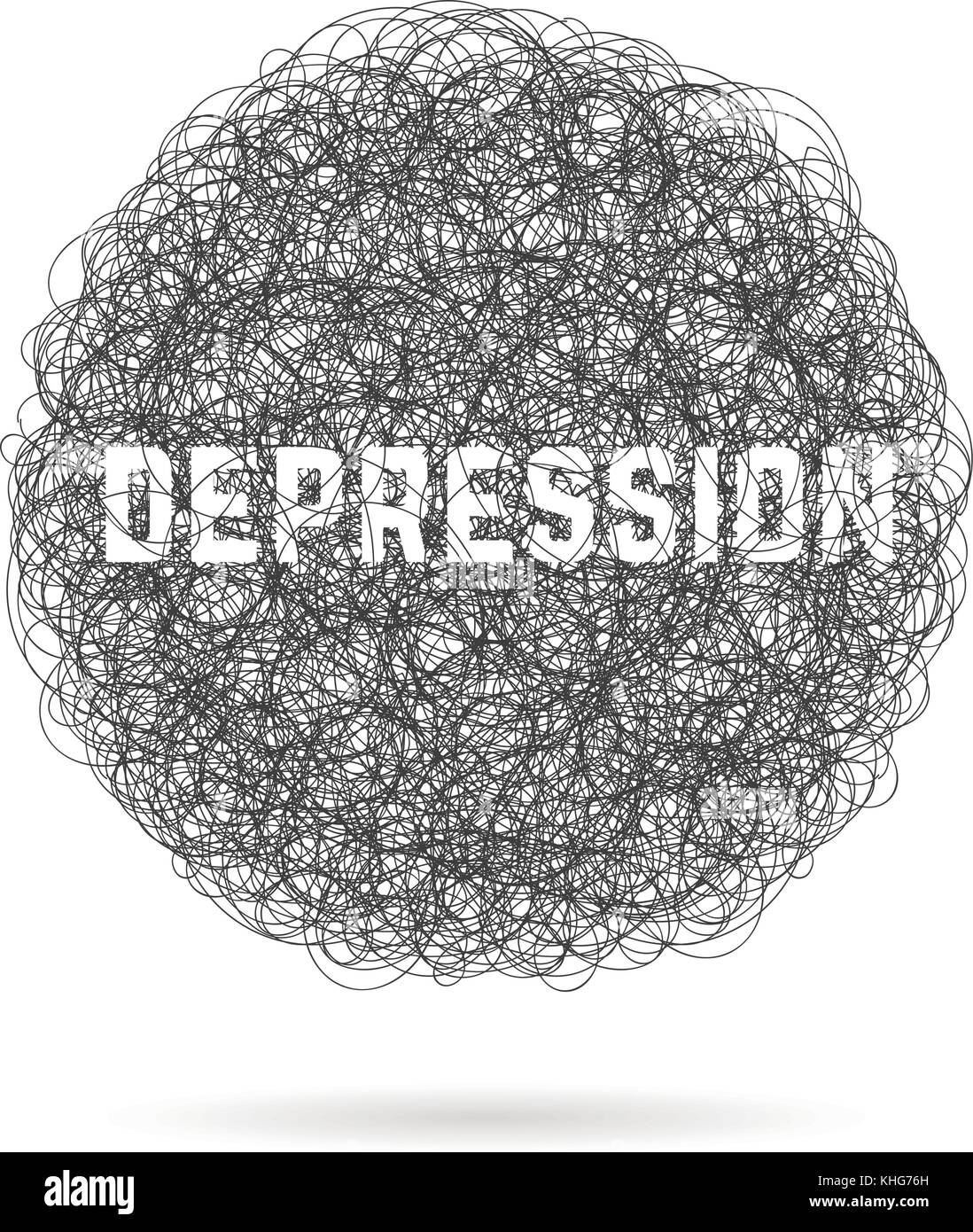 depression with hand drawn cloud and shadow - Stock Vector