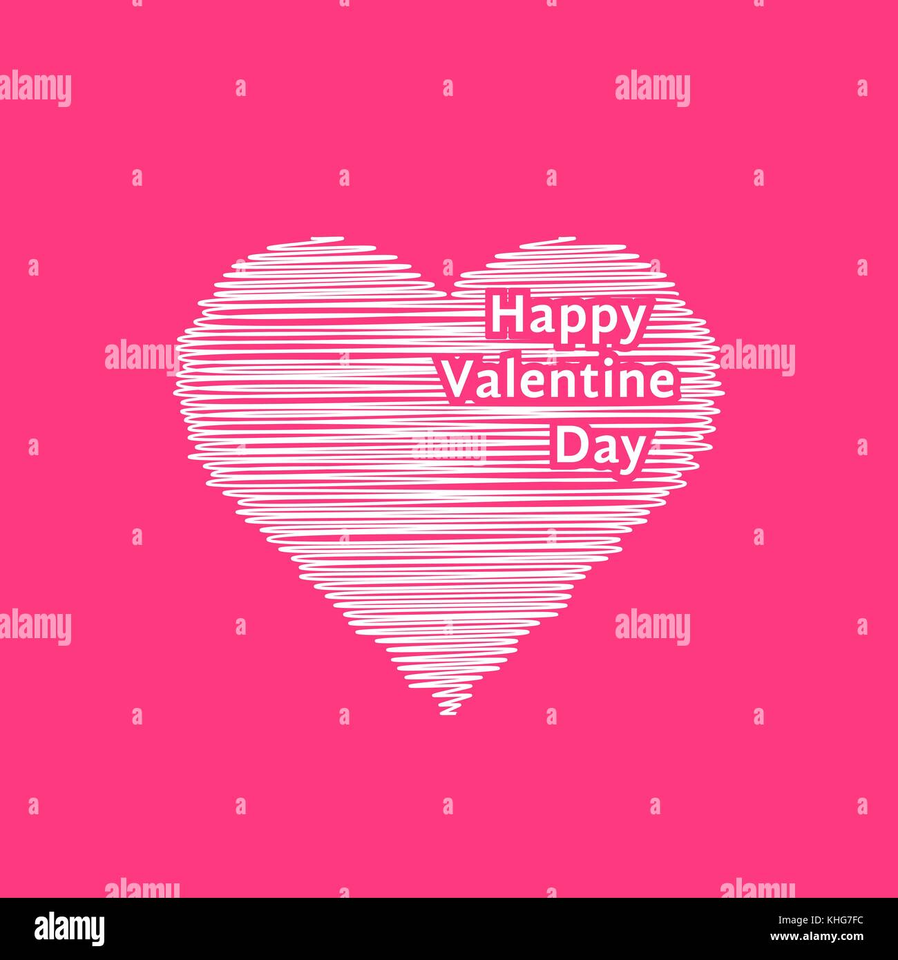 white scribble valentine day heart - Stock Image