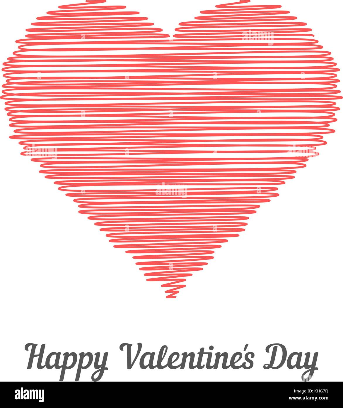red scribble heart like happy valentine day - Stock Image