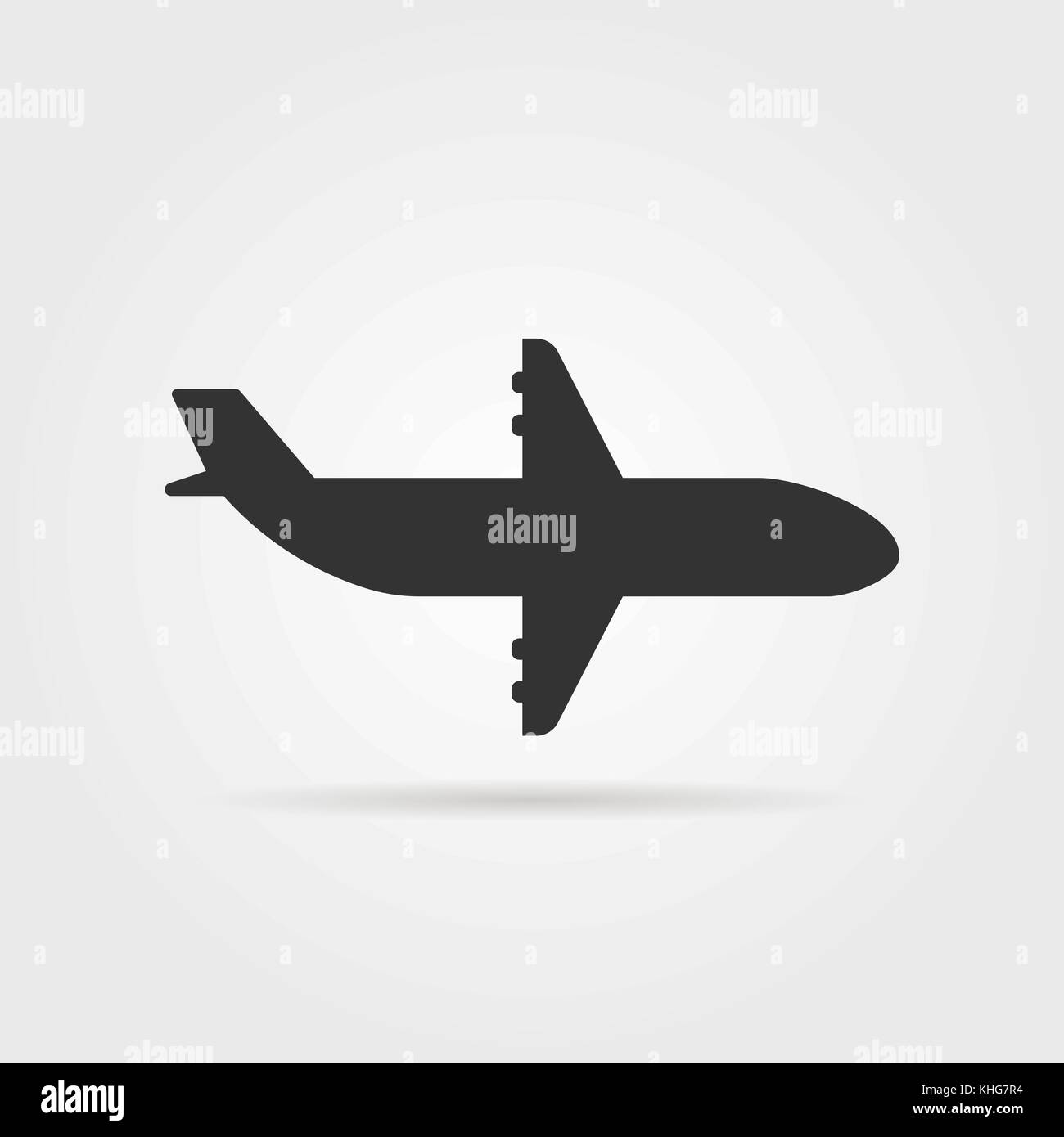 black airplane icon side view with shadow - Stock Image