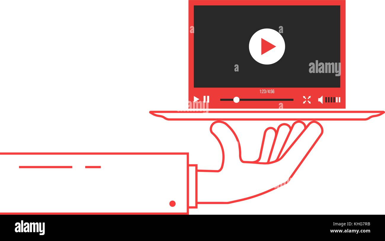 red thin line hand holding video player on dish - Stock Image