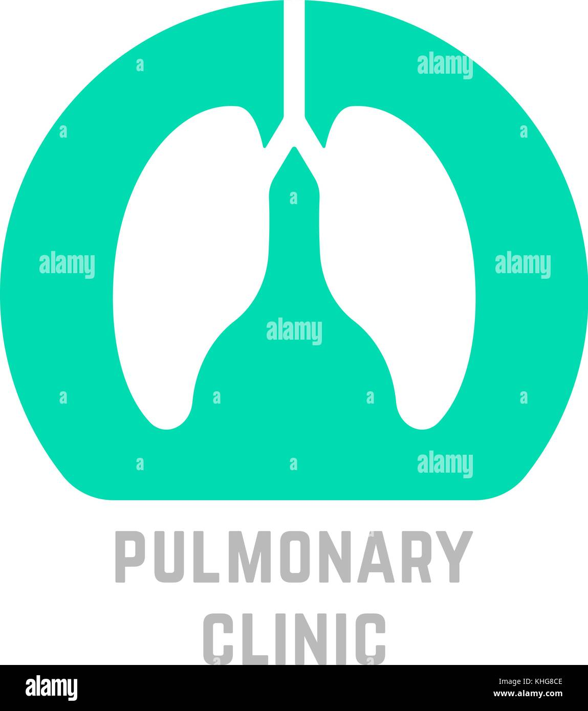 green simple pulmonary clinic logo - Stock Image