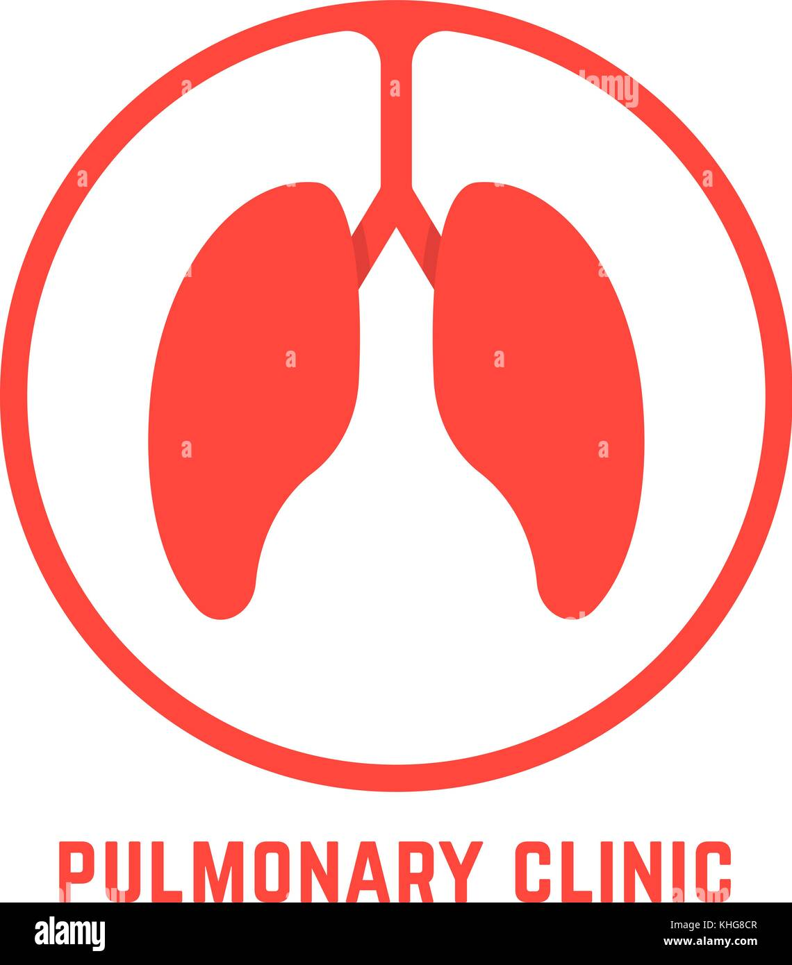 red outline pulmonary clinic logo - Stock Image