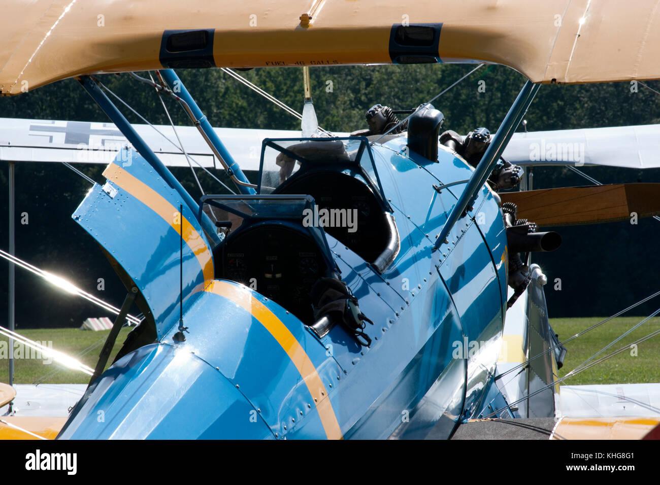 Biplane at Hahnweide Oldtimers Airshow, Hahnweide Airfield, Baden-Wurttemberg, Stuttgart, Germany - 3rd September - Stock Image