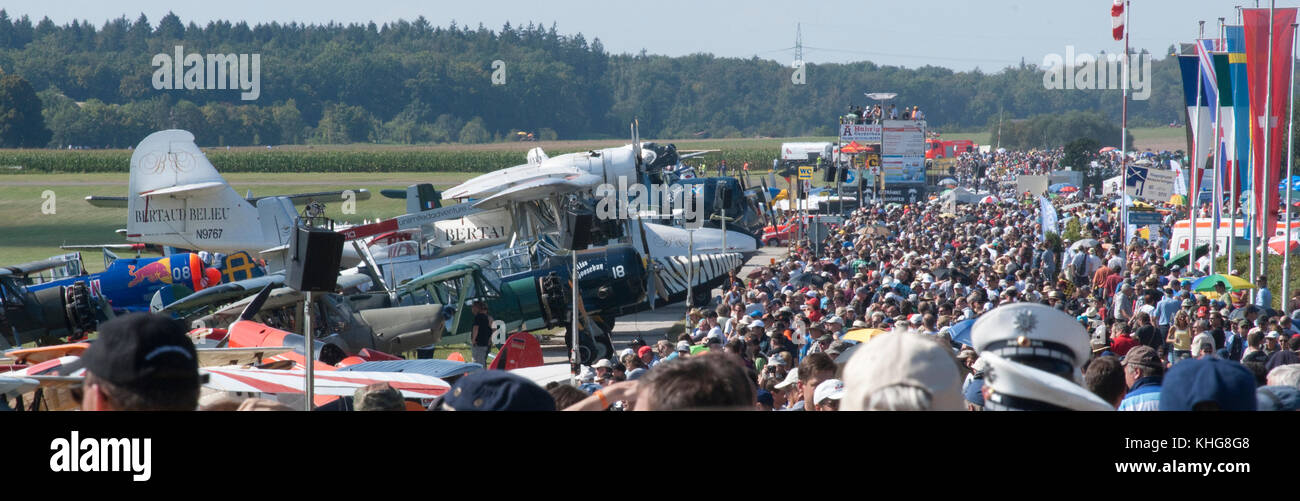View of crowdline at Hahnweide Oldtimers Airshow, Hahnweide Airfield, Baden-Wurttemberg, Stuttgart, Germany - 3rd - Stock Image