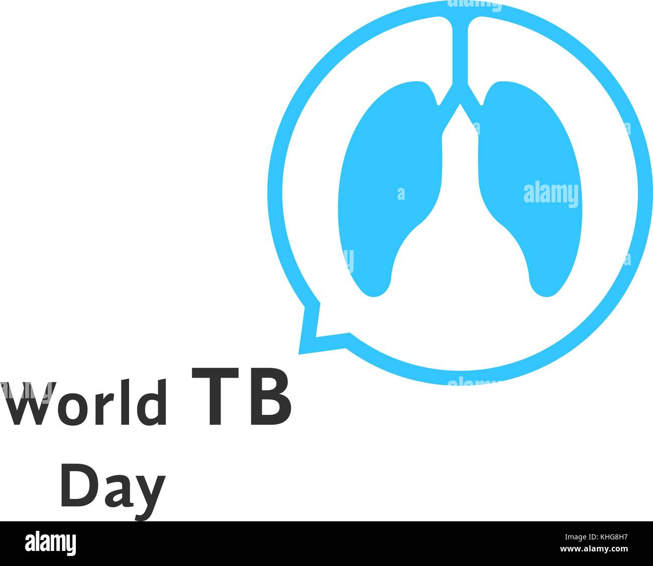 world tb day with blue speech bubble - Stock Image