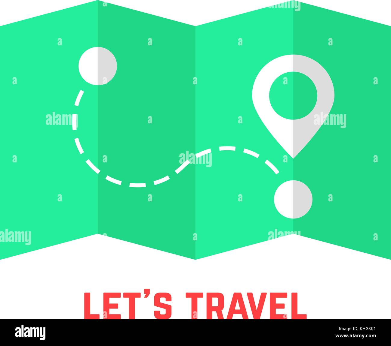 green travel map with pin - Stock Vector