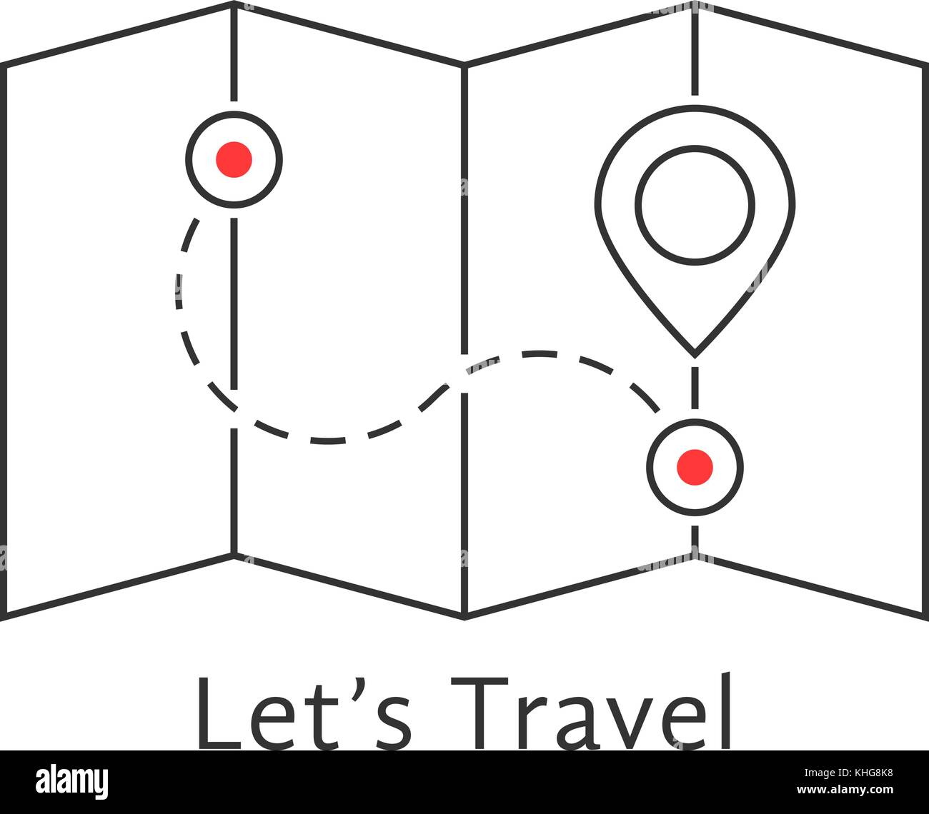 thin line travel map with pin - Stock Vector