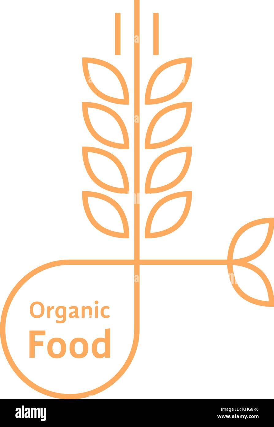 orange organic food logo like wheat ears - Stock Vector