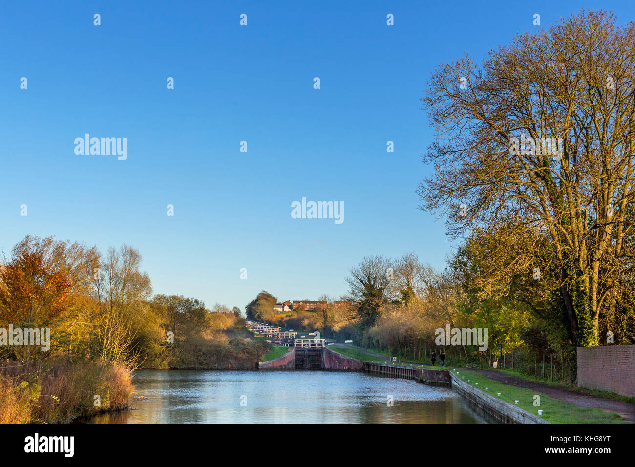 Main flight of Caen Hill Locks, Kennet and Avon Canal, Devizes, Wiltshire, England, UK - Stock Image