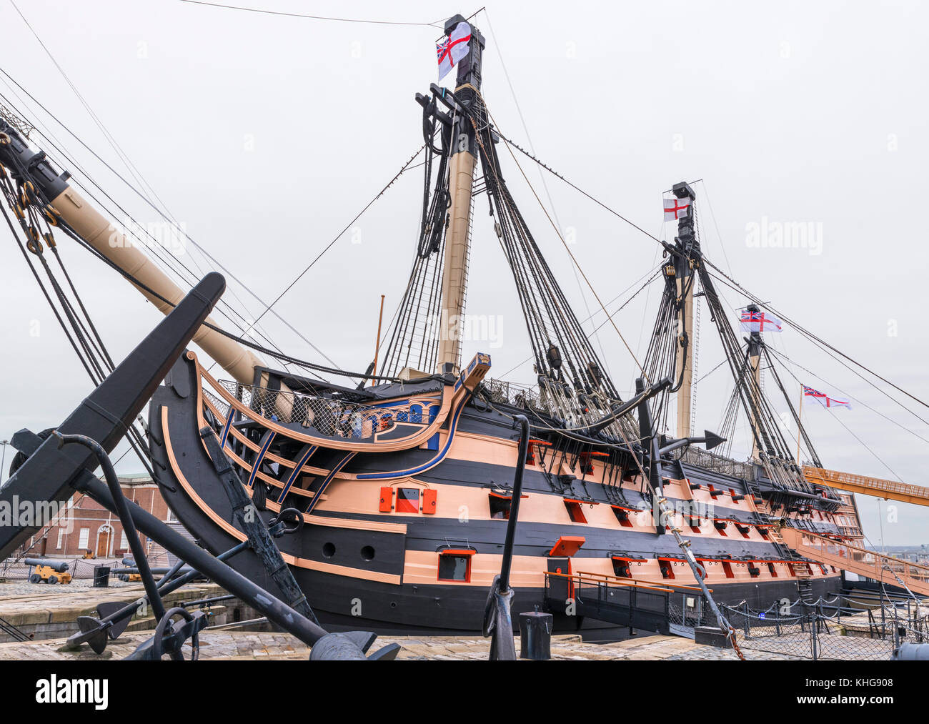 HMS Victory, Nelson's flagship at the Battle of Trafalgar, Portsmouth Historic Dockyard, Hampshire, England, - Stock Image