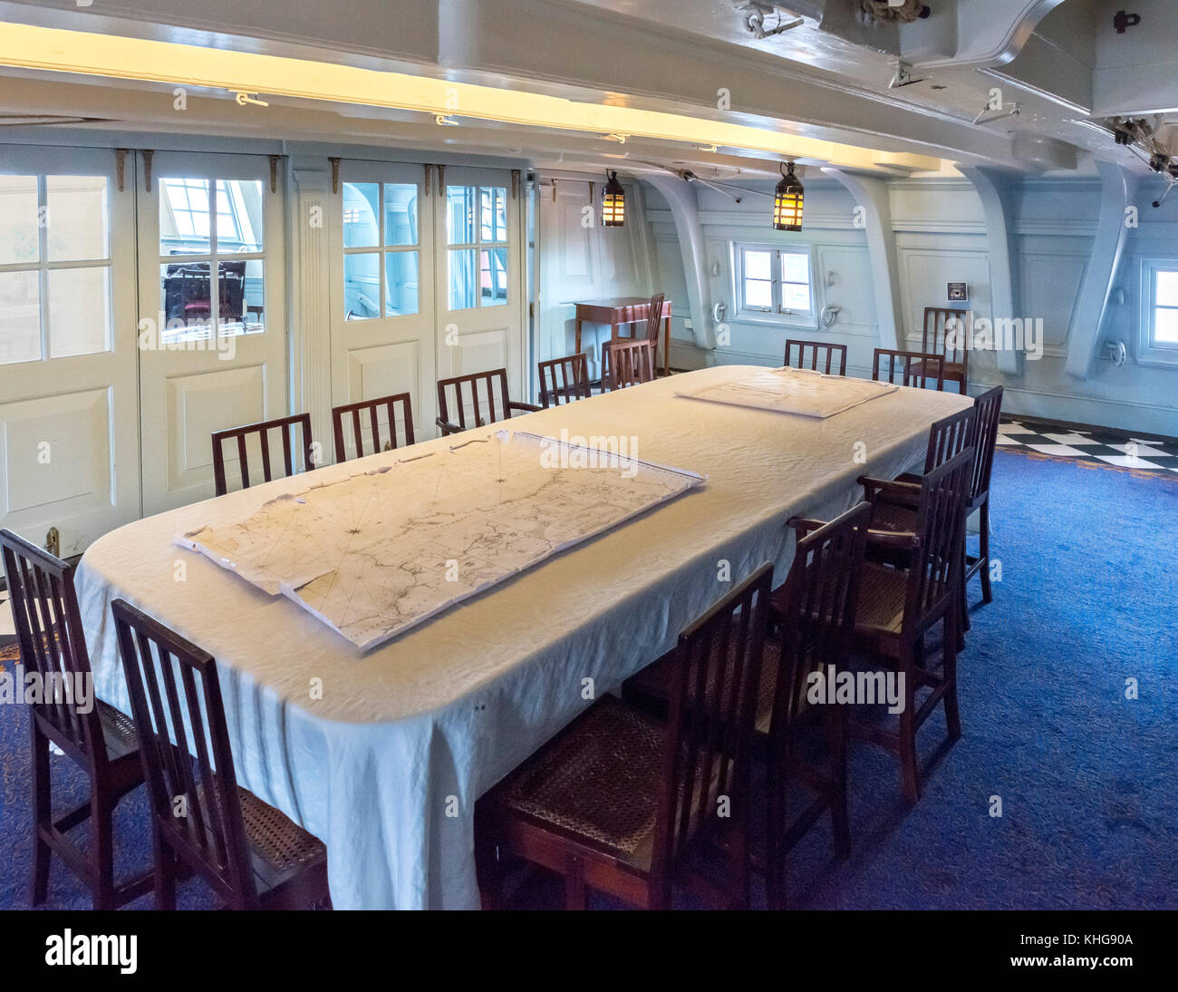 Admiral Nelson's Dining Cabin on HMS Victory, Portsmouth Historic Dockyard, Hampshire, England, UK - Stock Image