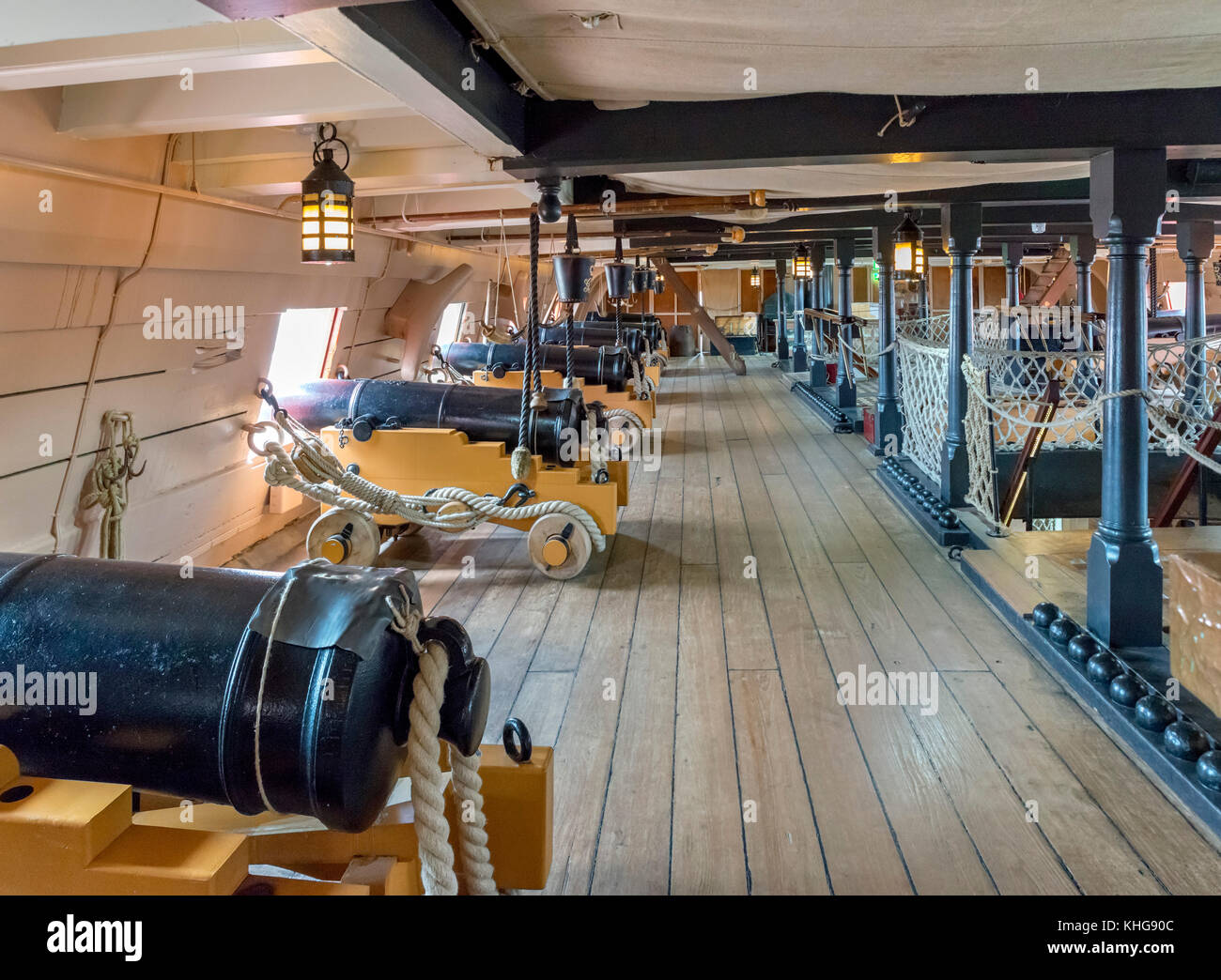 Gundeck on HMS Victory, Nelson's flagship at the Battle of Trafalgar, Portsmouth Historic Dockyard, Hampshire, - Stock Image