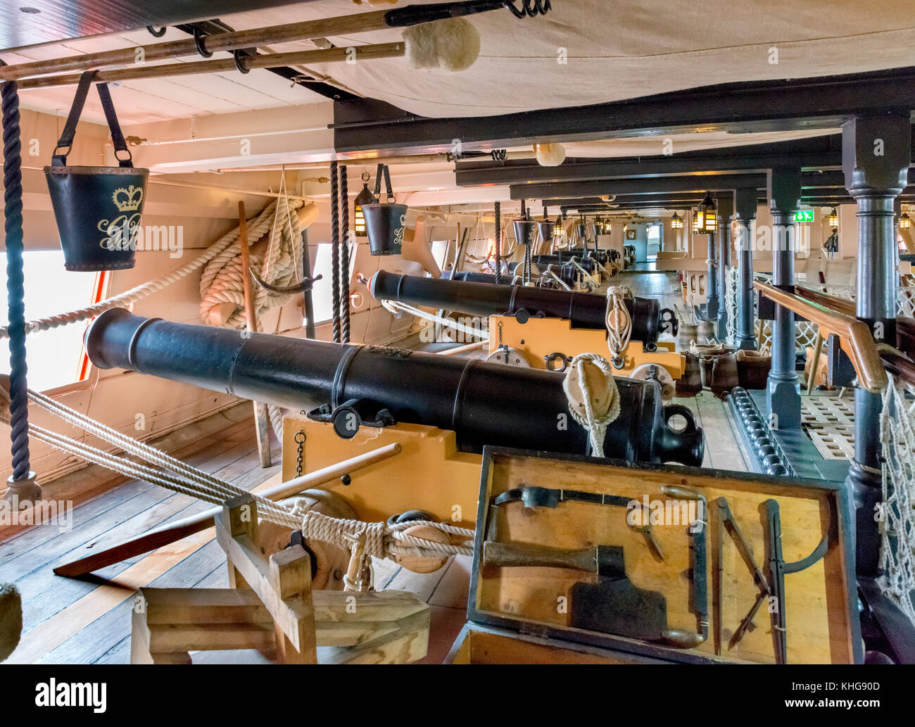 HMS Victory. Cannon on the gundeck of the Victory, Nelson's flagship at the Battle of Trafalgar, Portsmouth - Stock Image