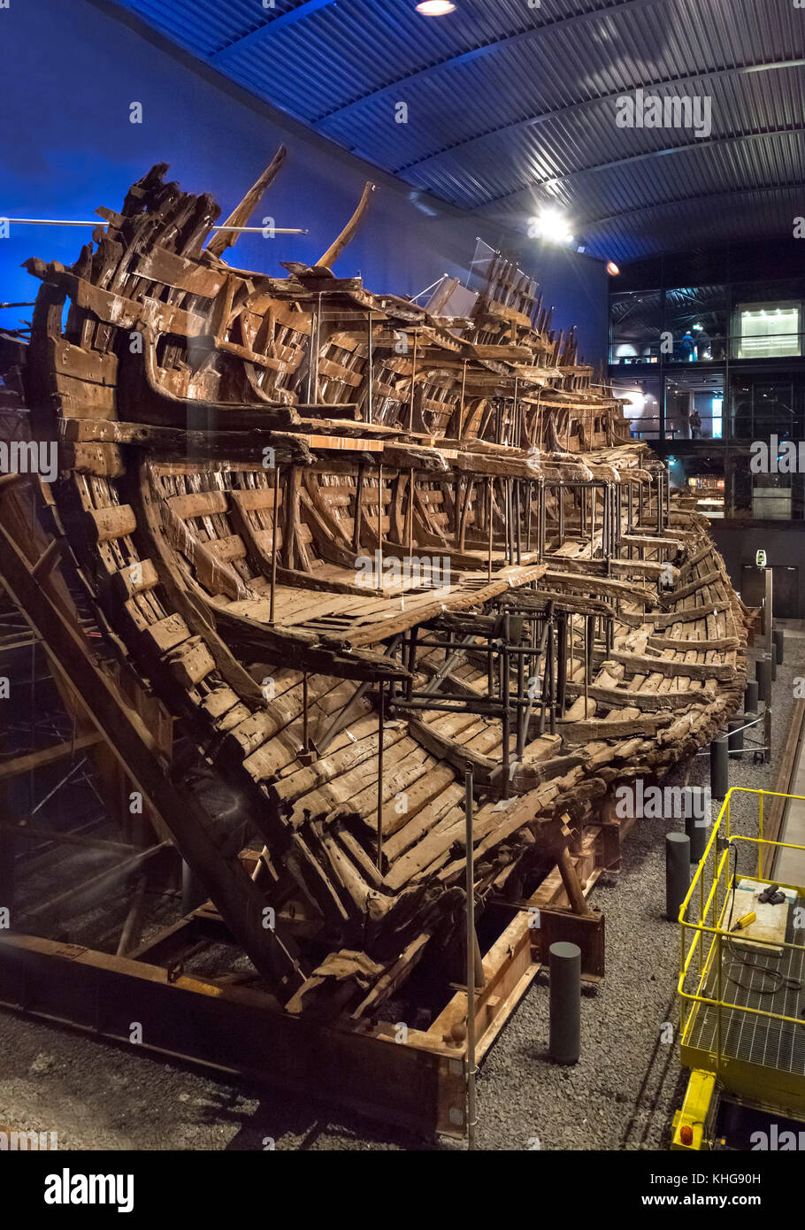The wreck of the Mary Rose in the Mary Rose Museum, Portsmouth Historic Dockyard, Hampshire, England, UK - Stock Image