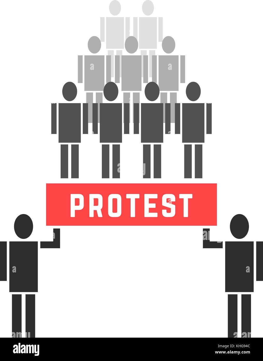 crowd of protesters people - Stock Vector