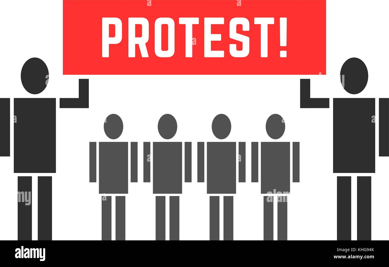 black protesters people symbol - Stock Vector