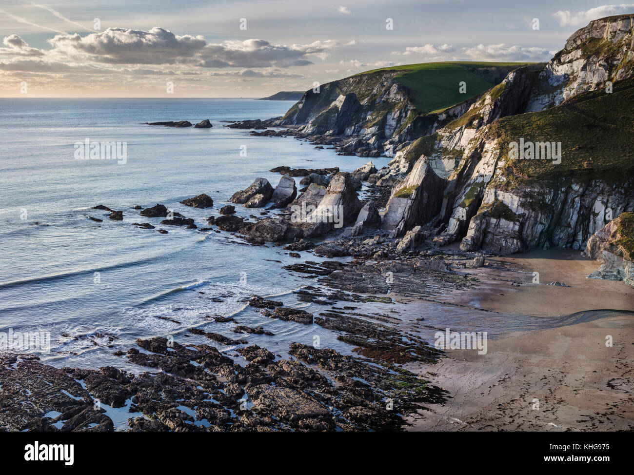 View of Westcombe Bay from the South West Coastal Path on the South Hams coast of Devon - Stock Image