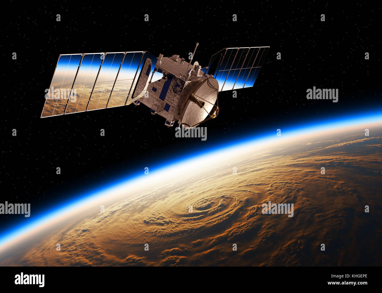 Reflection Of Planet Earth In Solar Panels Of A Space Satellite - Stock Image