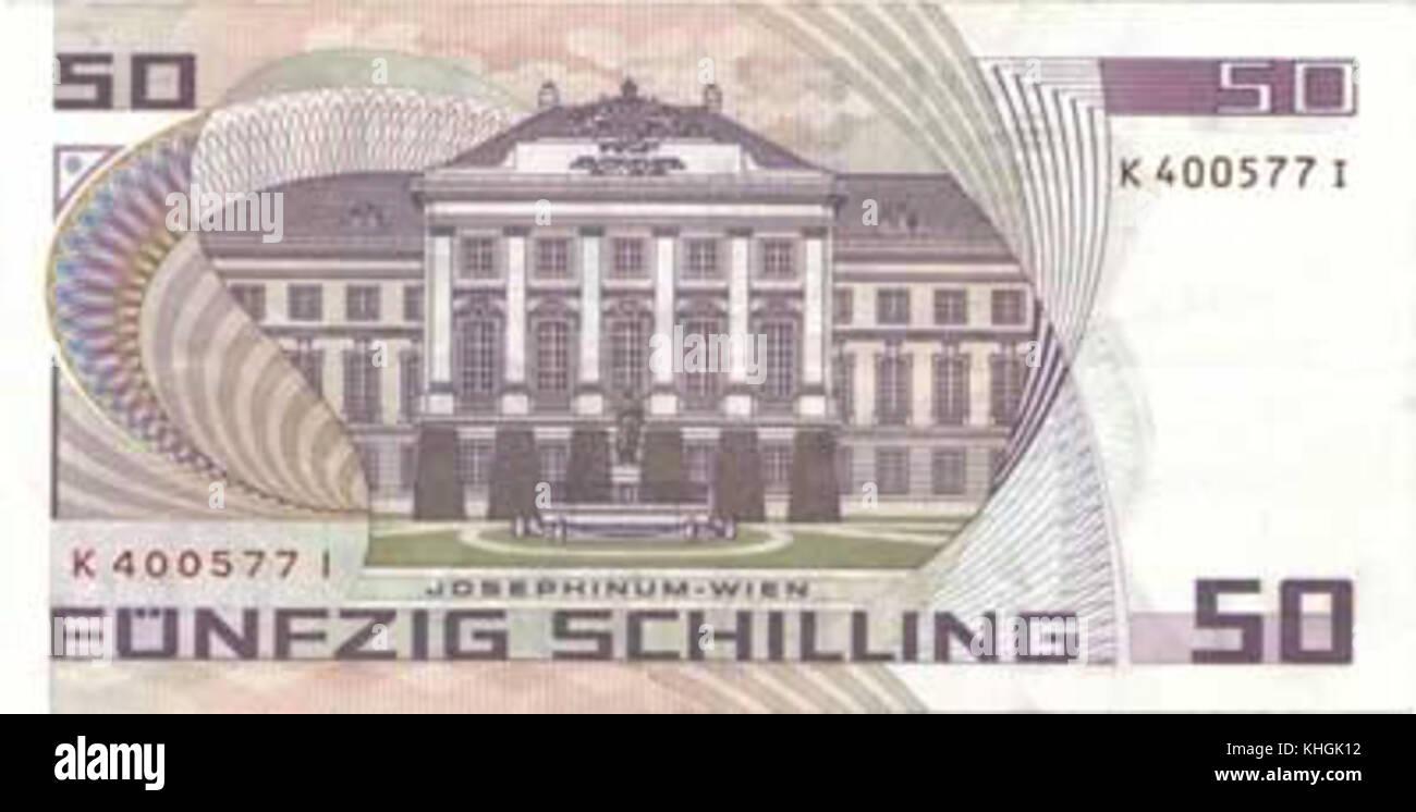 50 Schilling Sigmund Freud reverse - Stock Image