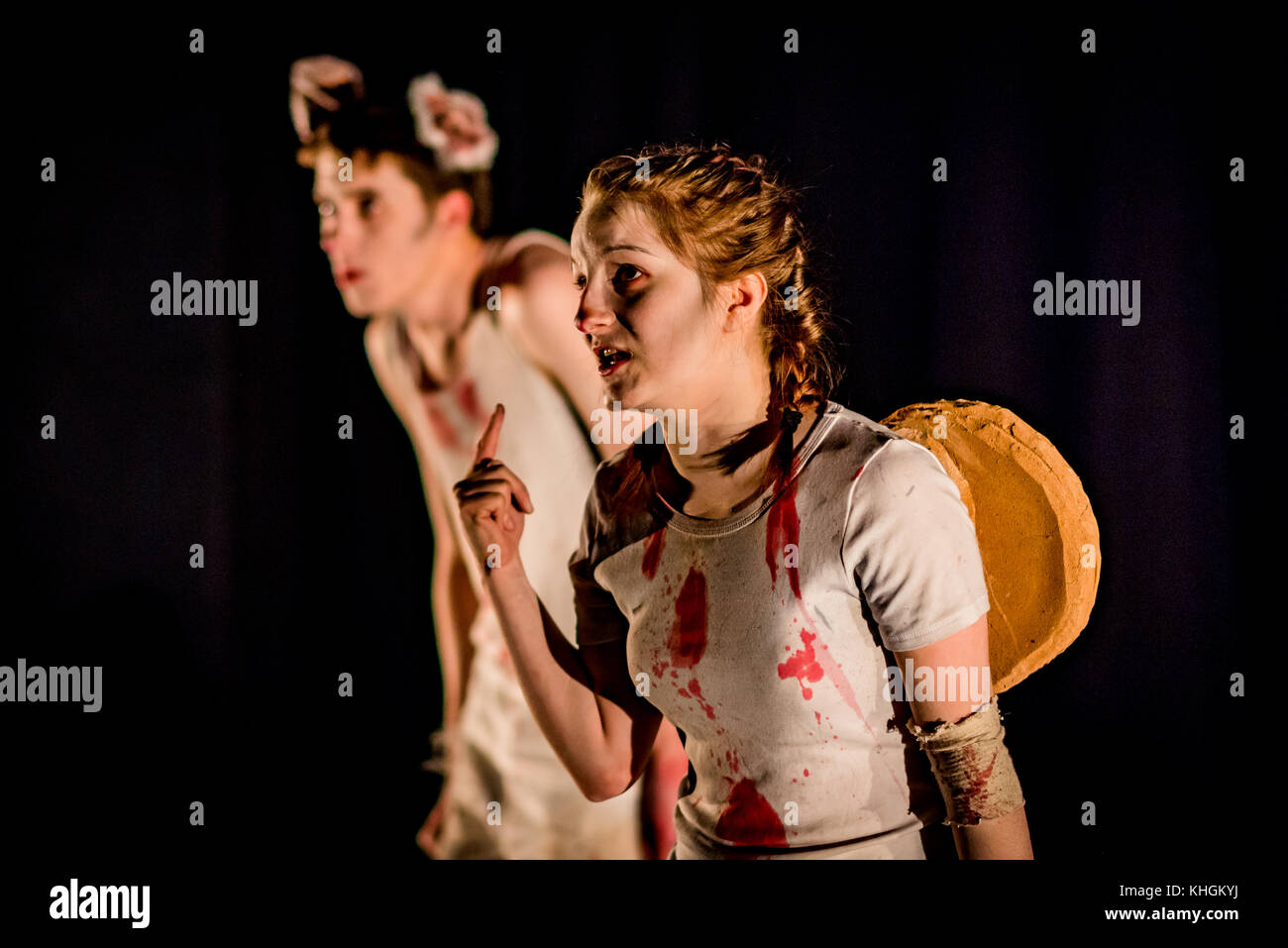 "Edinburgh, UK. 16th Nov, 2017. Livingston's Firefly Arts in rehearsal with their theatre performance ""Dark Mechanics"" - Stock Image"