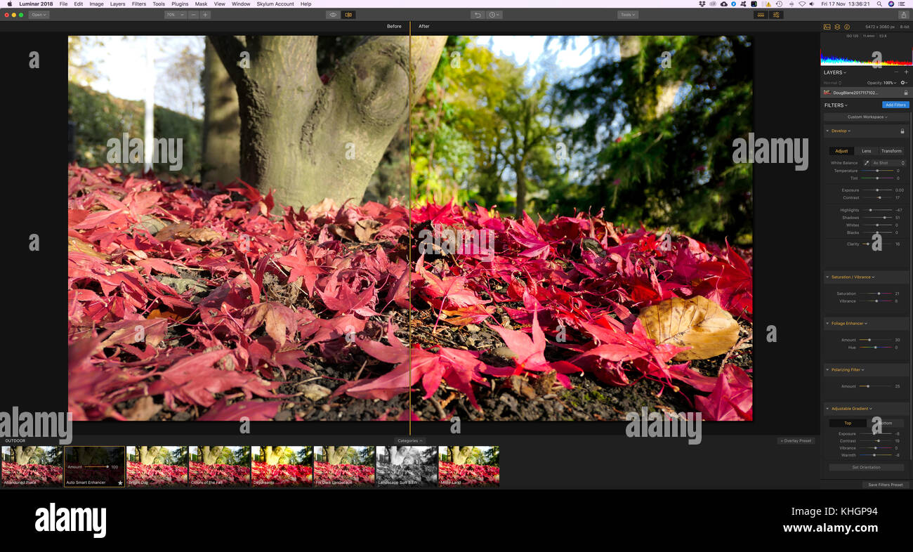 Screenshot of the new photo editing software Luminar 2018 by Skylum / macphun being used to edit a photographic - Stock Image