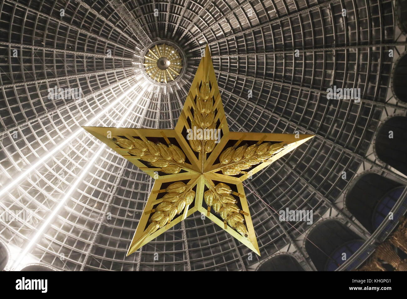 Moscow russia 17th nov 2017 a star shaped chandelier installed a star shaped chandelier installed at the cosmos pavilion of the vdnkh exhibition centre the chandelier is a replica of the star that had been perched atop aloadofball Image collections
