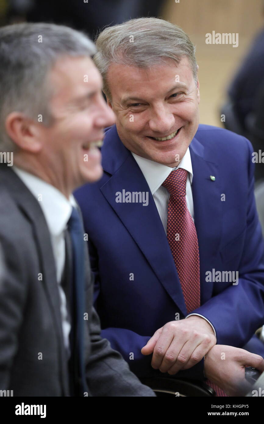 St Petersburg, Russia. 17th Nov, 2017. TNK-BP Russia President David Campbell (L) and CEO and Chairman of the Executive - Stock Image
