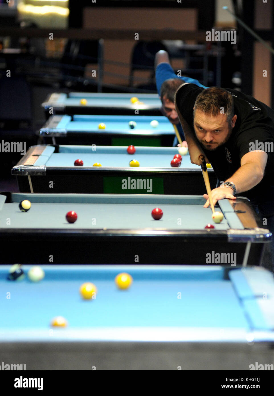 Porthcawl, Wales, UK. Friday 17th November 2017  Pool players take part in the Wales Festival of Pool at Trecco - Stock Image
