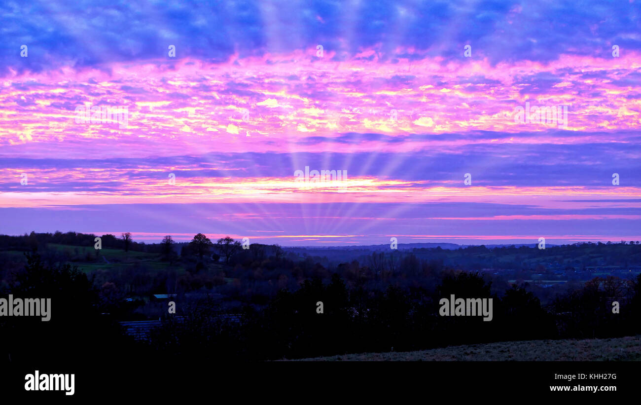 Ashbourne, Derbyshire, UK. 19th November, 2017. UK Weather: spectacular sunset over Ashbourne Derbyshire the gateway - Stock Image
