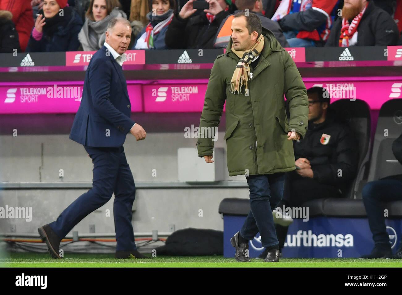 v.re:Manuel BAUM (Trainer FC Augsburg) with Stefan REUTER (Manager FC Augsburg), Fussball 1. Bundesliga, 12.Spieltag, - Stock Image
