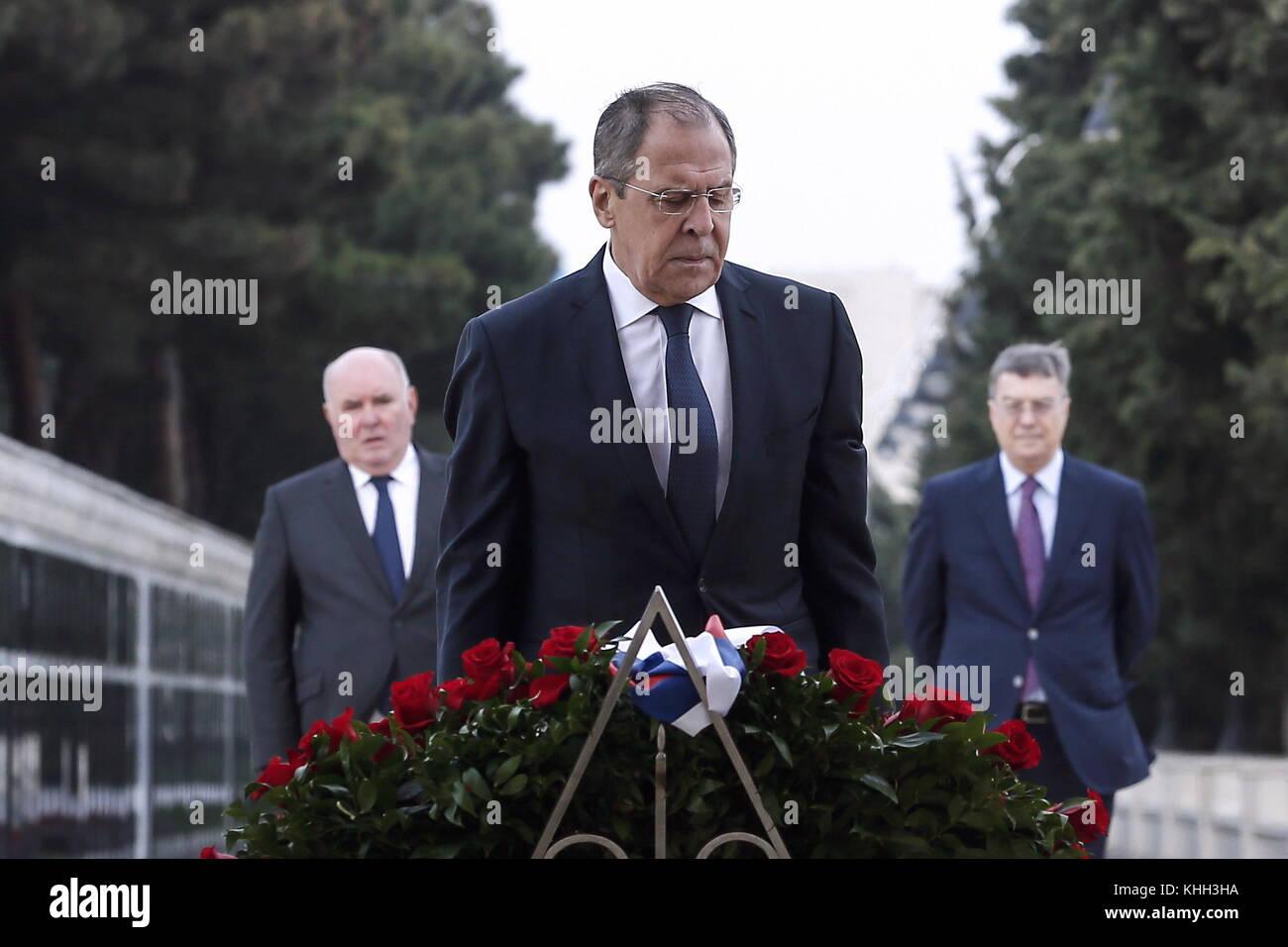 Baku, Azerbaijan. 20th Nov, 2017. Russia's Foreign Minister Sergei Lavrov (front, his deputy Grigory Karasin - Stock Image