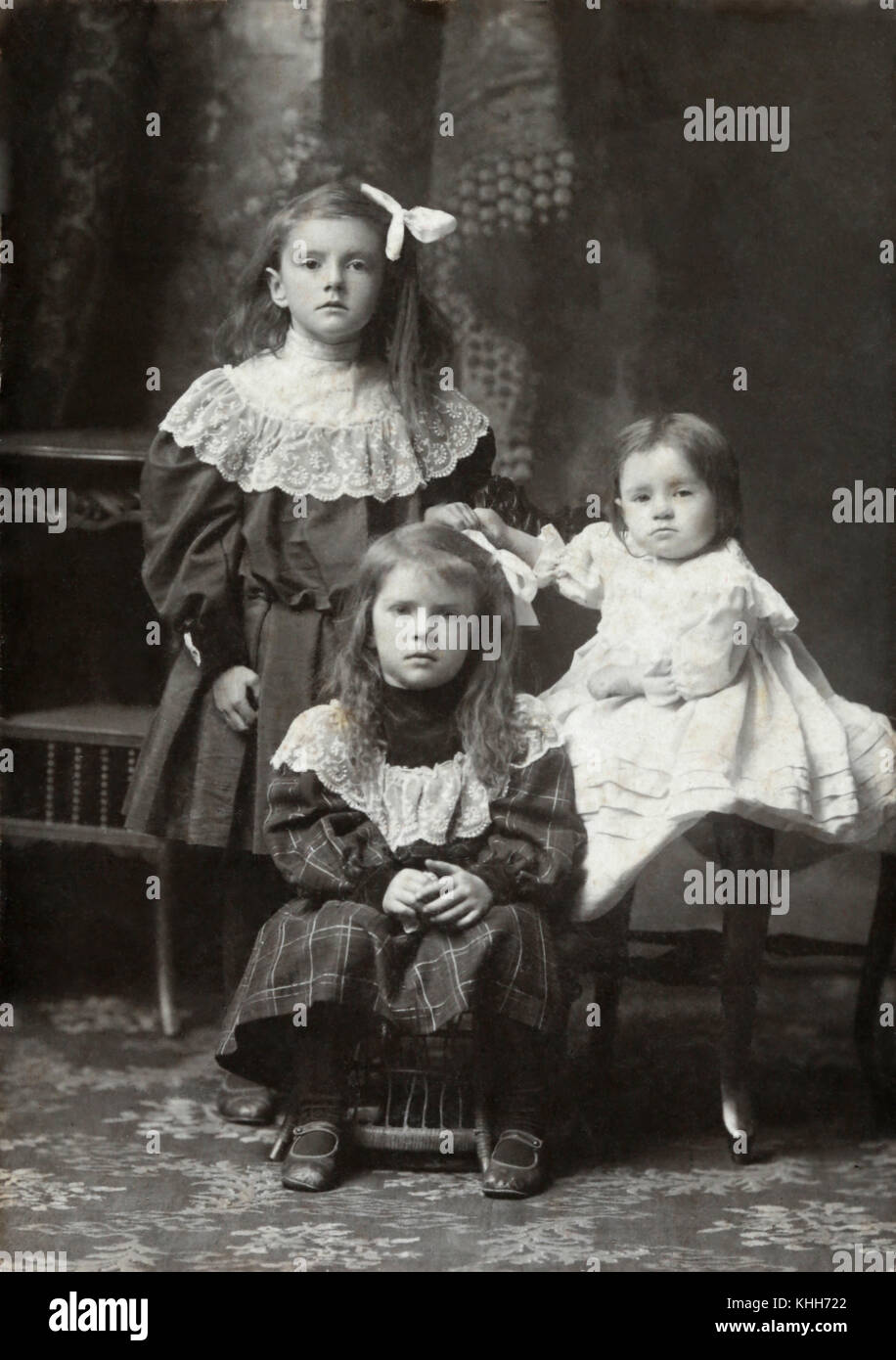 Family snaps over the ages covering 1860's through 1970's.  A collective look at the progression of the family tree. Stock Photo