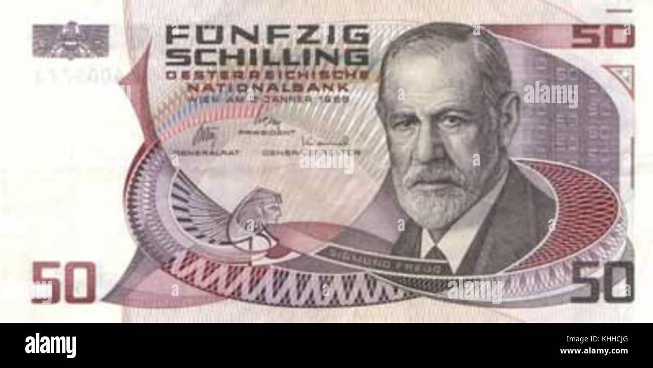 50 Schilling Sigmund Freud obverse - Stock Image