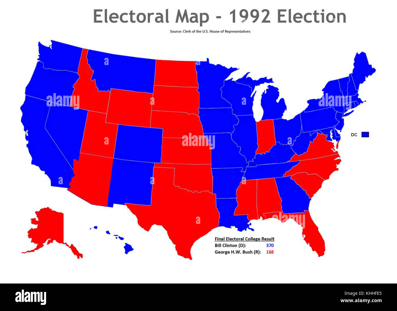 1992 election map (30254982354 Stock Photo: 165727805 - Alamy on