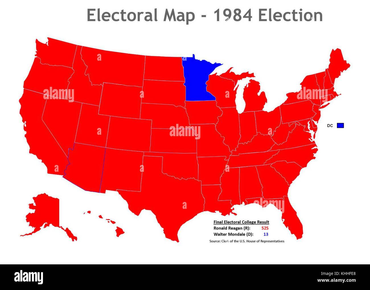 1984 election map (30798498291 Stock Photo: 165727808 - Alamy