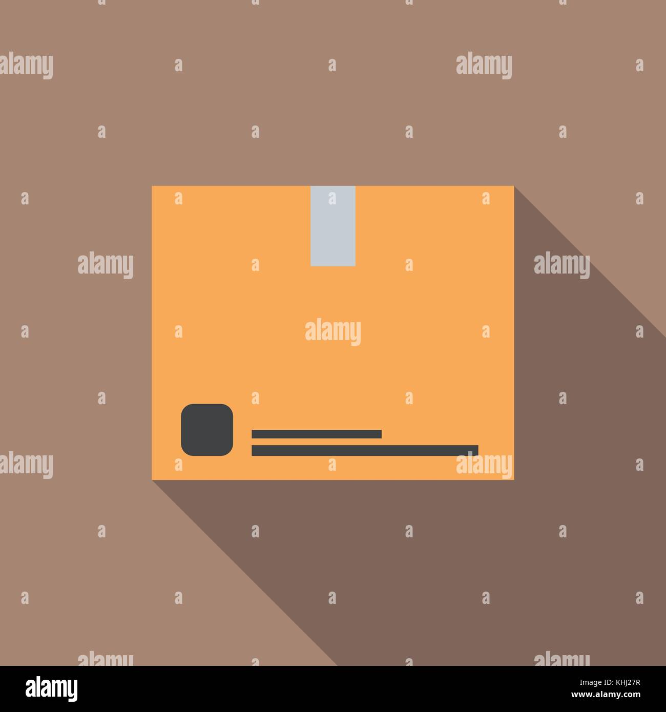 Cardboard box with long shadow. Vector Illustration - Stock Vector