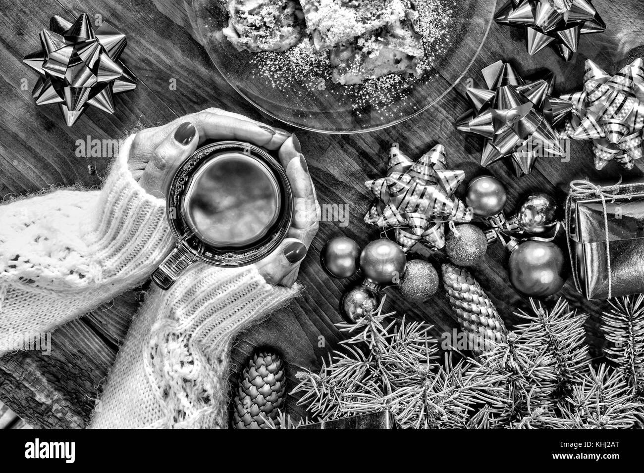 Black And White Christmas New Year Christmas Tree Ornaments A Cup Stock Photo Alamy