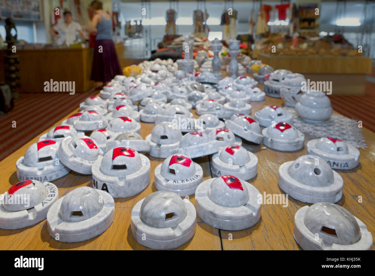 Bunker ashtrays for sale in the souvenir shop of the National Museum, Tirane, Albania. - Stock Image