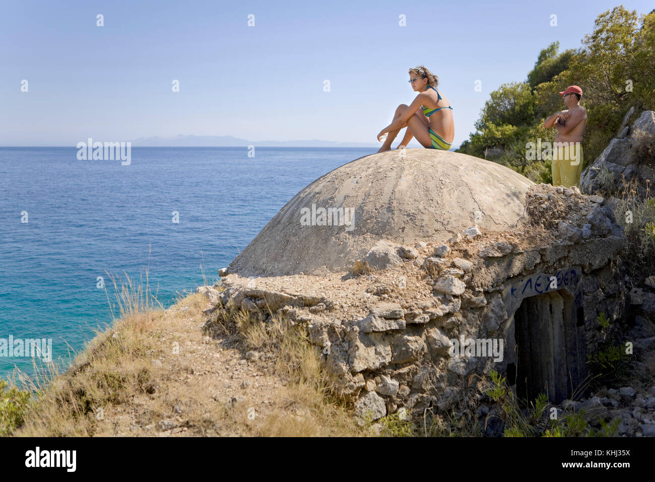 Sitting on top of a cold war bunker in Livadh, Albania. - Stock Image