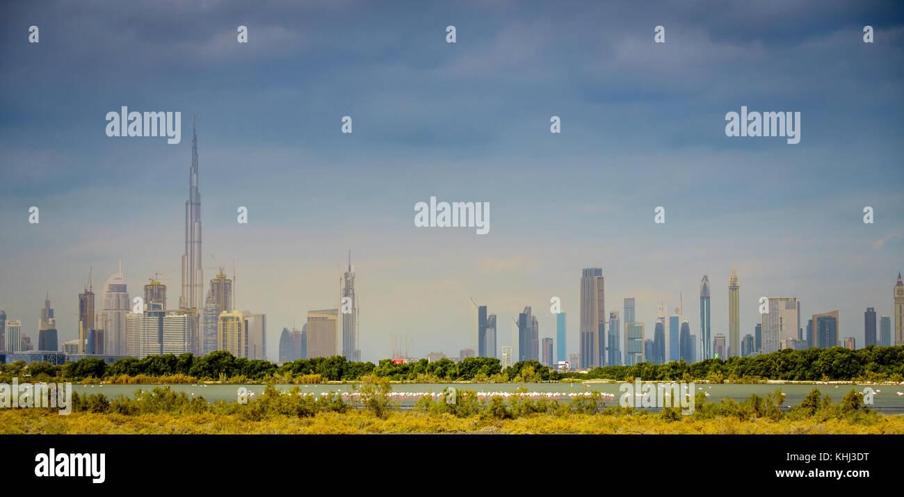 View of Dubai downtown skyline from Ras al Khor Wildlife Sanctuary - Stock Image