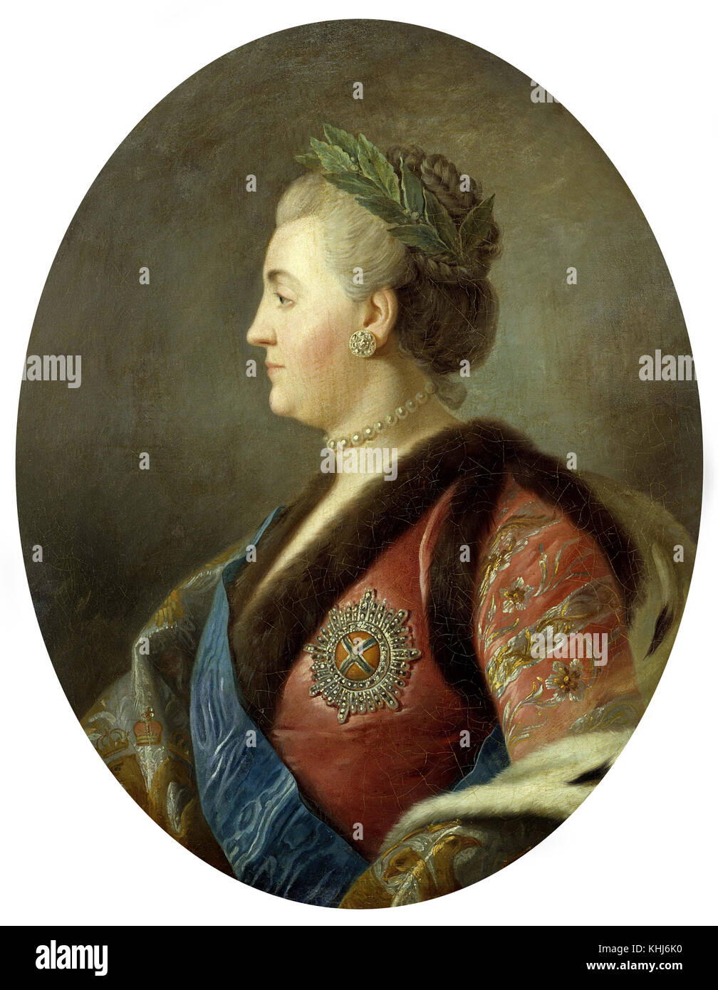 Italian school Portrait of Catherine II   impress of Russia - Stock Image