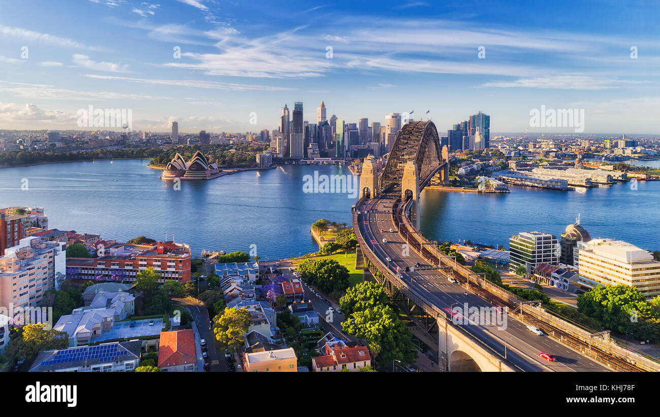 Cahill express way to the Sydney Harbour bridge across Sydney harbour towards city CBD landmarks in aerial eleveated - Stock Image