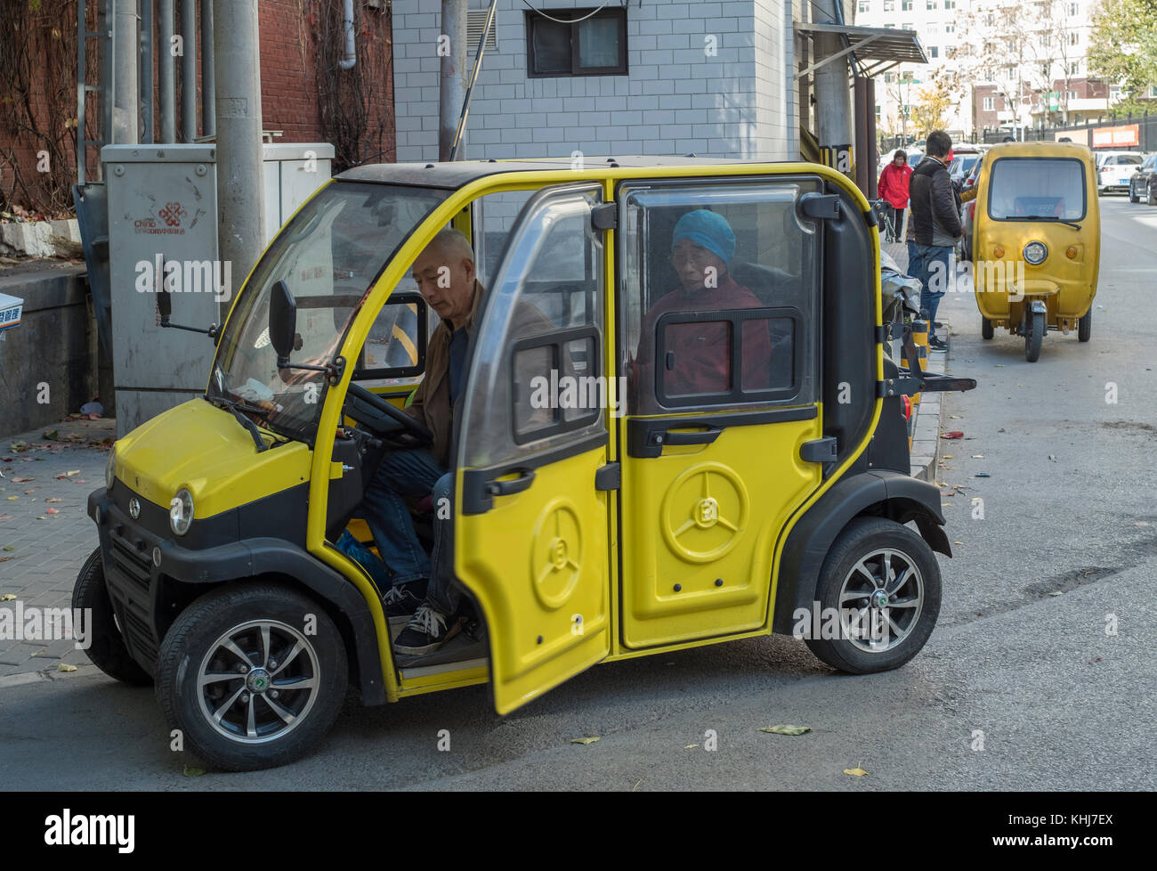 Unlicensed mini electric car is seen in Beijing, China. - Stock Image