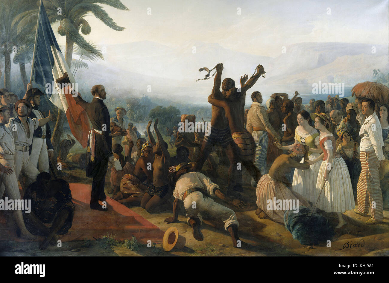 BIARD FRANCOIS AUGUSTE - PPROCLAMATION OF THE ABOLITION OF SLAVERY IN THE FRENCH COLONIES  (APRIL 23,1848) - Stock Image