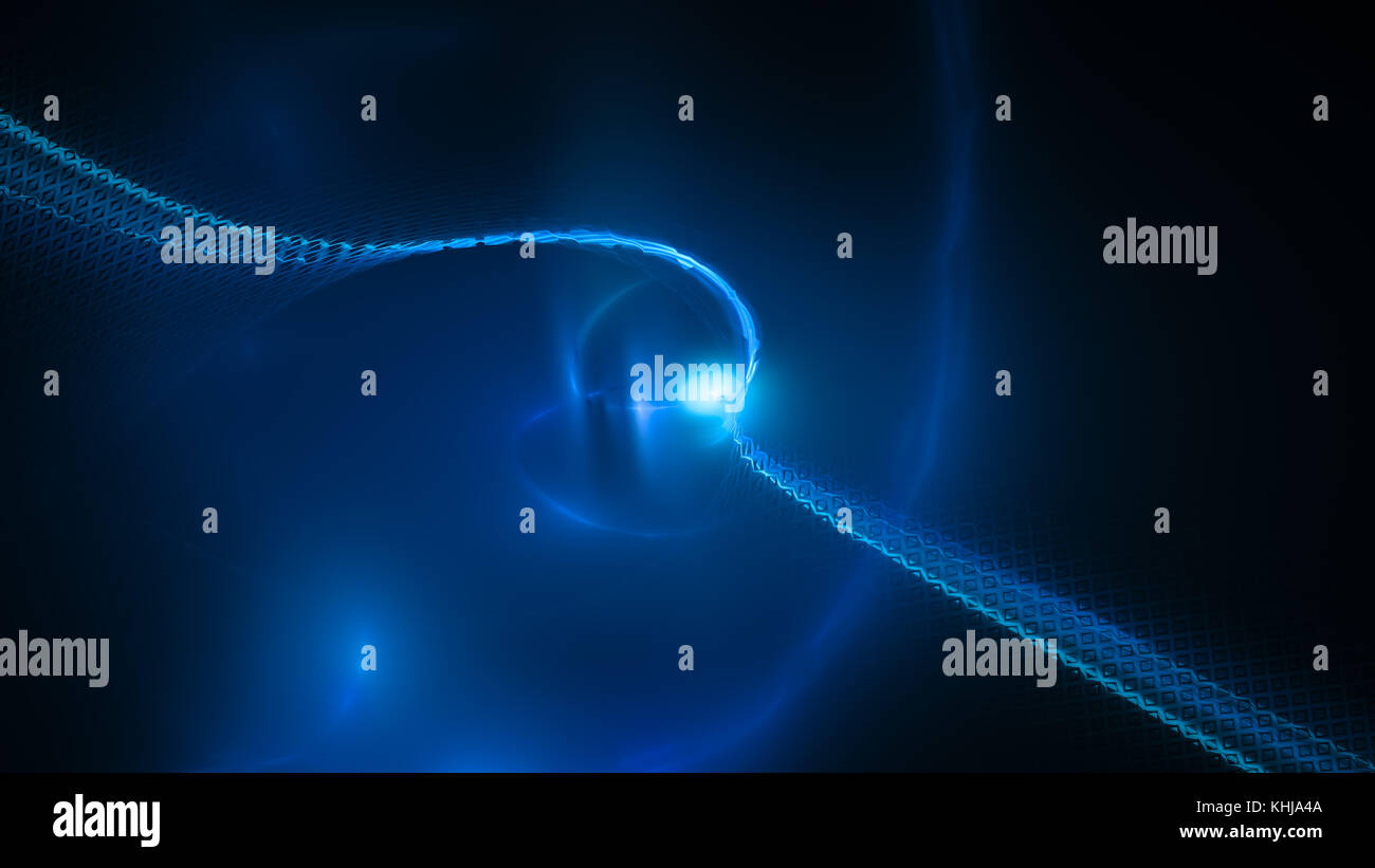 Blue glowing nanotechnology abstract, computer generated abstract background, 3D rendering - Stock Image