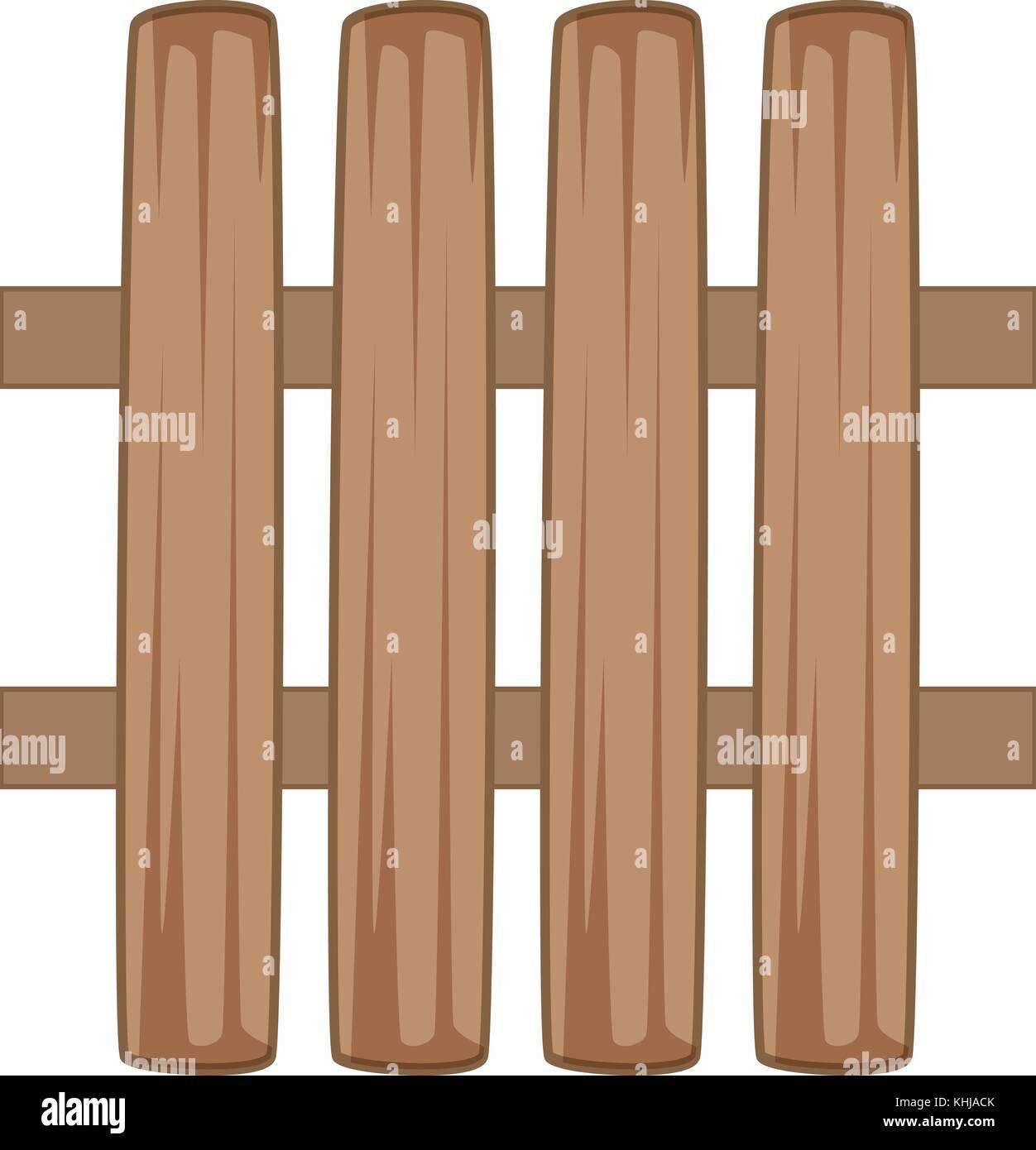 Wooden fence icon, cartoon style - Stock Image