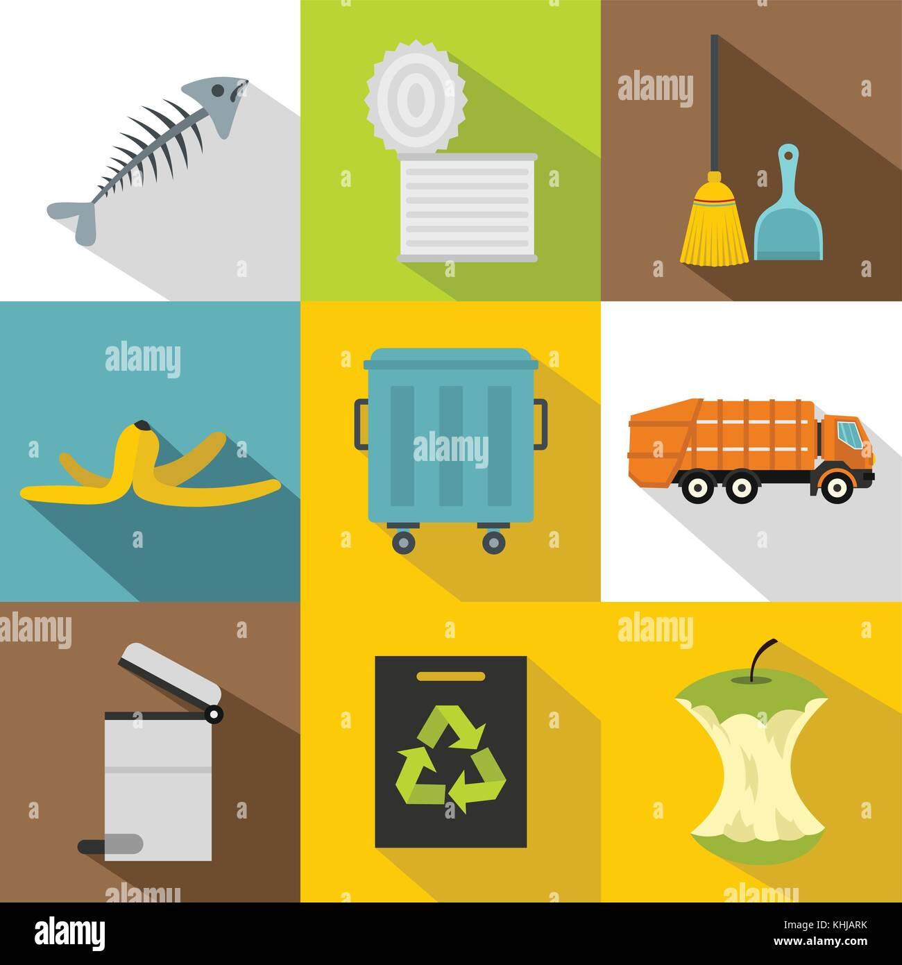 Types of waste icons set, flat style - Stock Image
