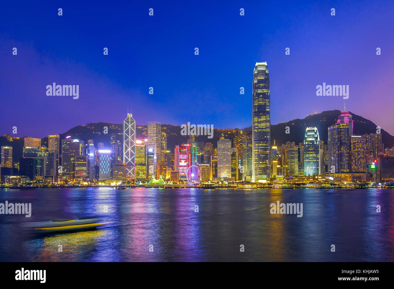 night view of victoria harbor, hongkong - Stock Image