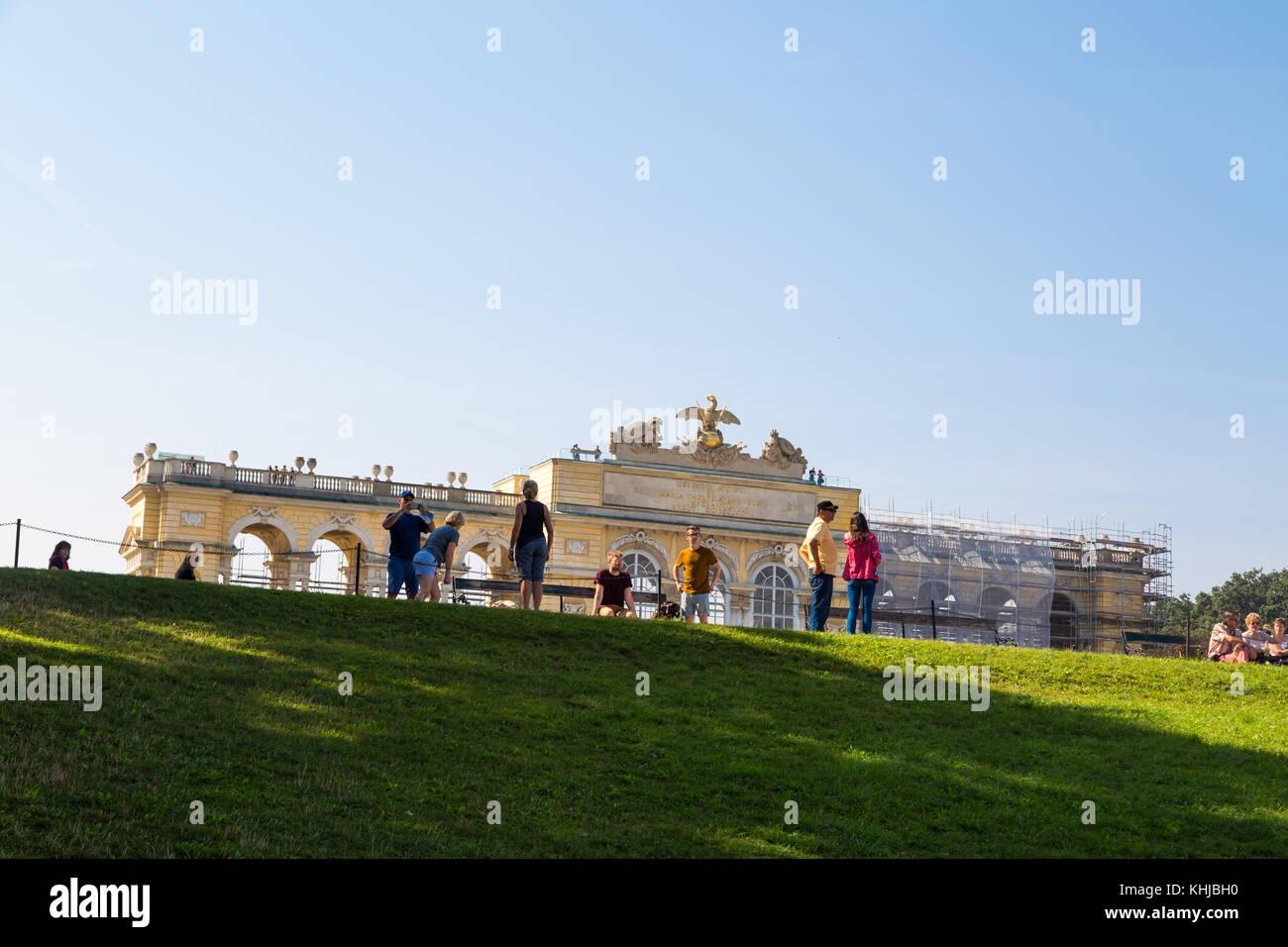 VIENNA, AUSTRIA - SEPTEMBER 11, 2016 : View of Classical Gloriette Arch in Schönbrunn Palace Garden in Vienna, - Stock Image